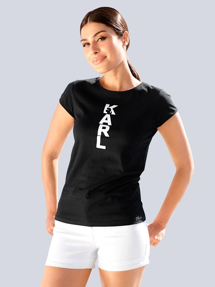 Karl Lagerfeld Strandshirt mit Namenszug, Schwarz