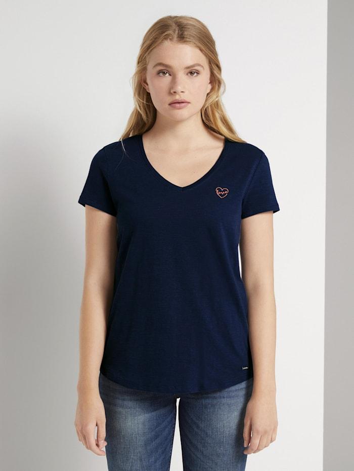 Tom Tailor Denim T-Shirt mit kleiner Stickerei, Real Navy Blue