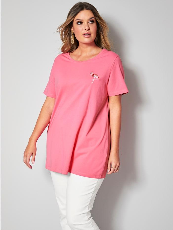 Janet & Joyce Shirt mit süßer Flamingo-Stickerei, Pink