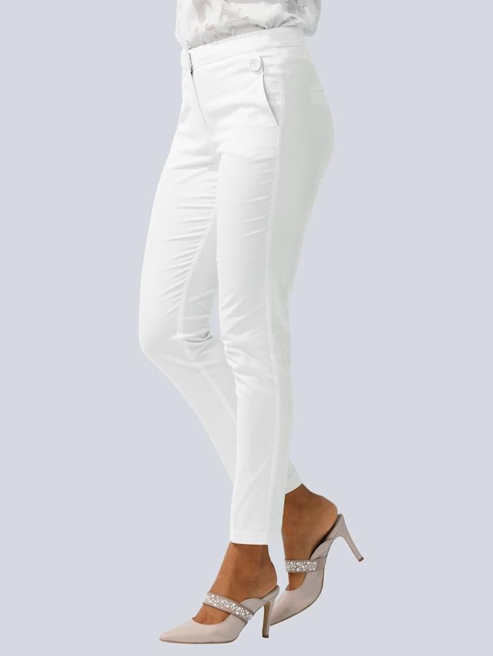 Alba Moda Hose in modischer Form mit Zierknopf, Off-white