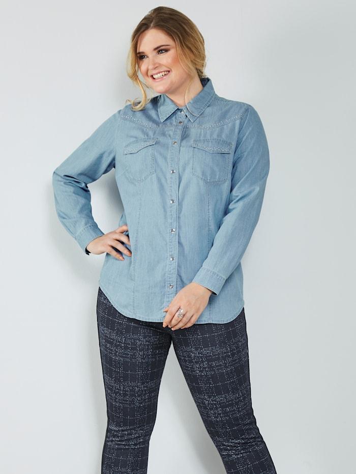 MIAMODA Jeansbluse med kontrastsømmer, Lyseblå