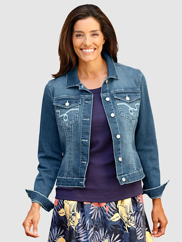 Laura Kent Veste en jean à coutures contrastées, Blue bleached