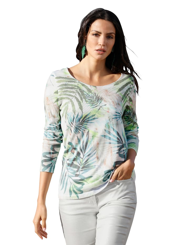 AMY VERMONT Pullover mit Blätterdruck, Weiß/Grün