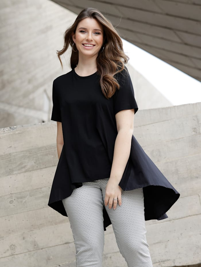 Sara Lindholm Shirt mit Webeinsatz, Schwarz