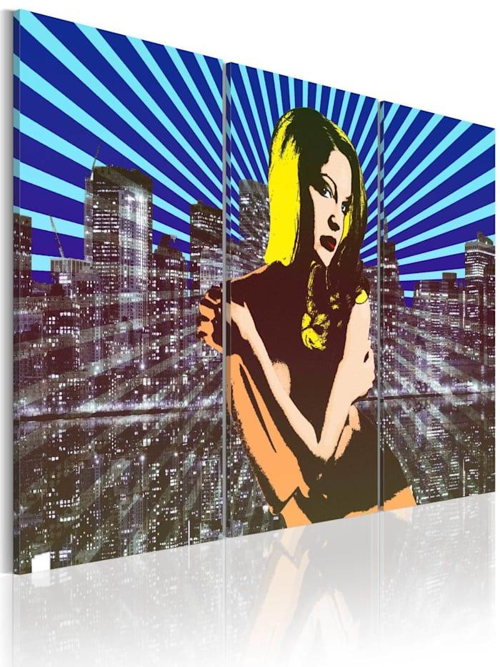 artgeist Wandbild American beauty - triptych, Blau,Gelb,Schwarz,Grau