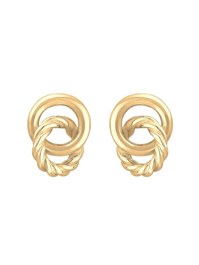 Ohrringe Stecker Knoten Kreis Gedreht 80S Look 925 Silber