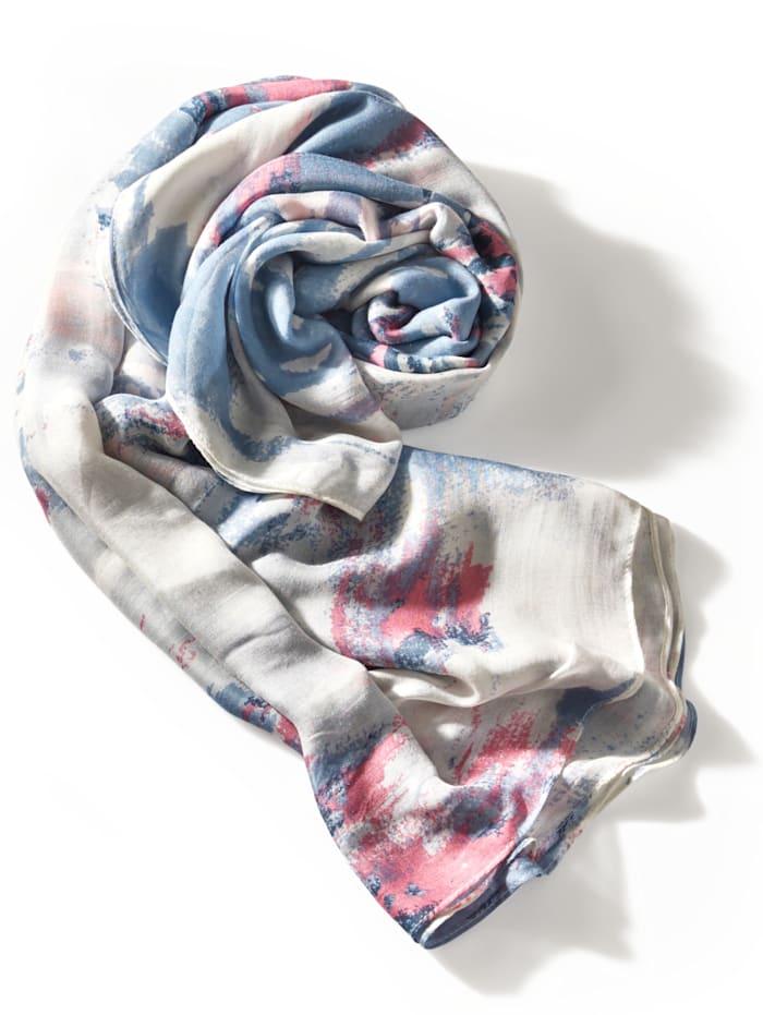 BRAX Schal mit allover Muster, Weiß/Blau