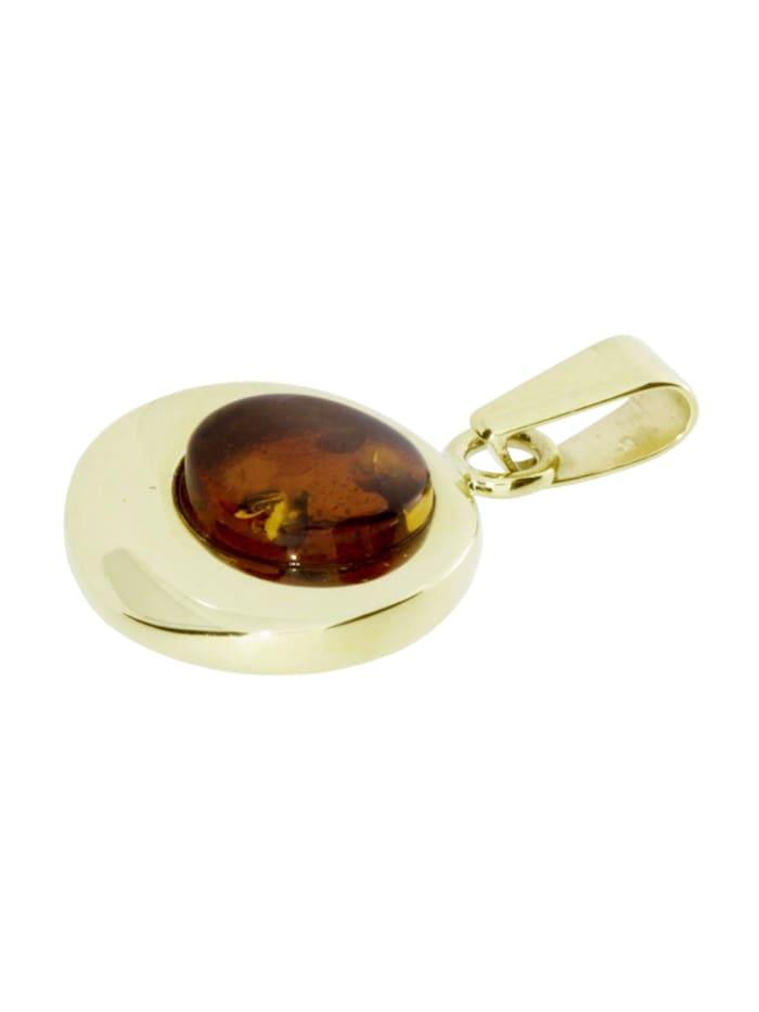 Anhänger - Alina 12 mm - Silber 925/000, vergoldet - Bernstein