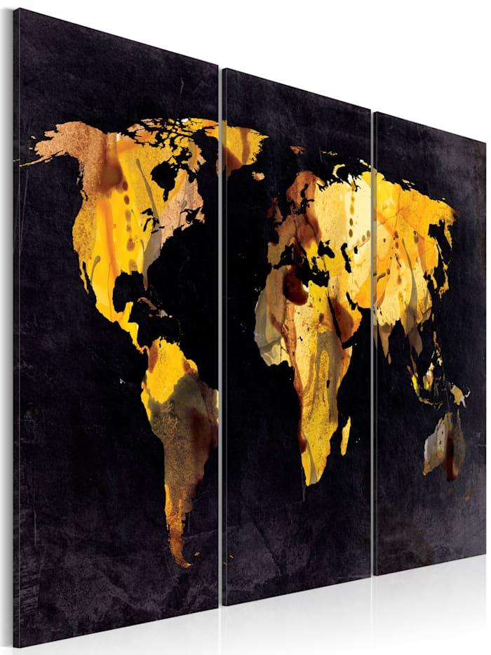 artgeist Wandbild Wenn die Welt eine Wüste wäre... - Triptychon, Schwarz,Gold,Grau