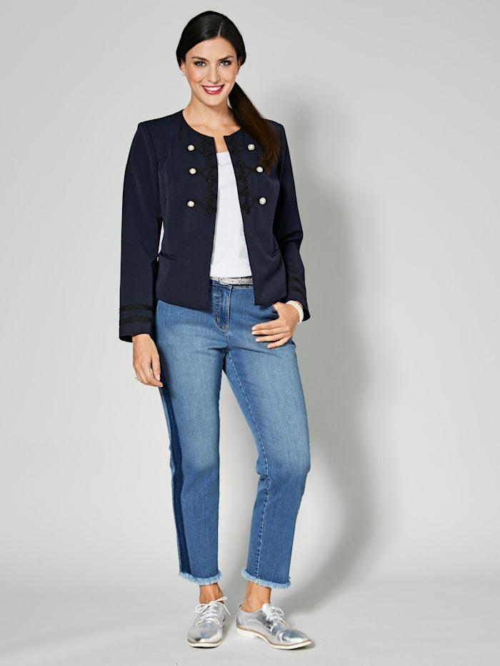 Slim Fit Jeans knöchellang mit Fransensaum