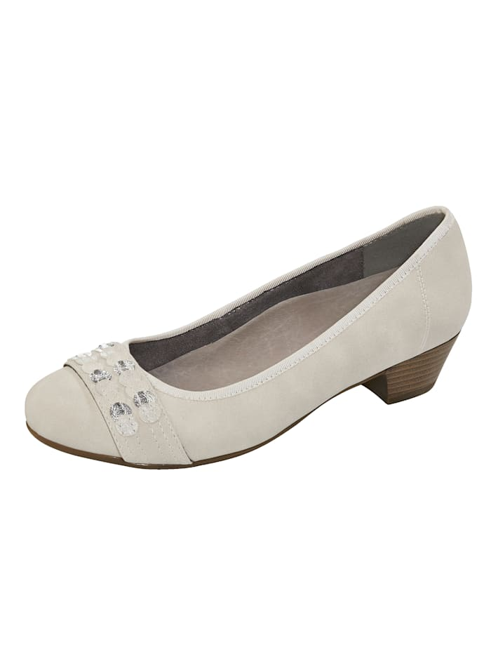 Julietta Pumps mit schimmernder Applikation, Creme-Weiß