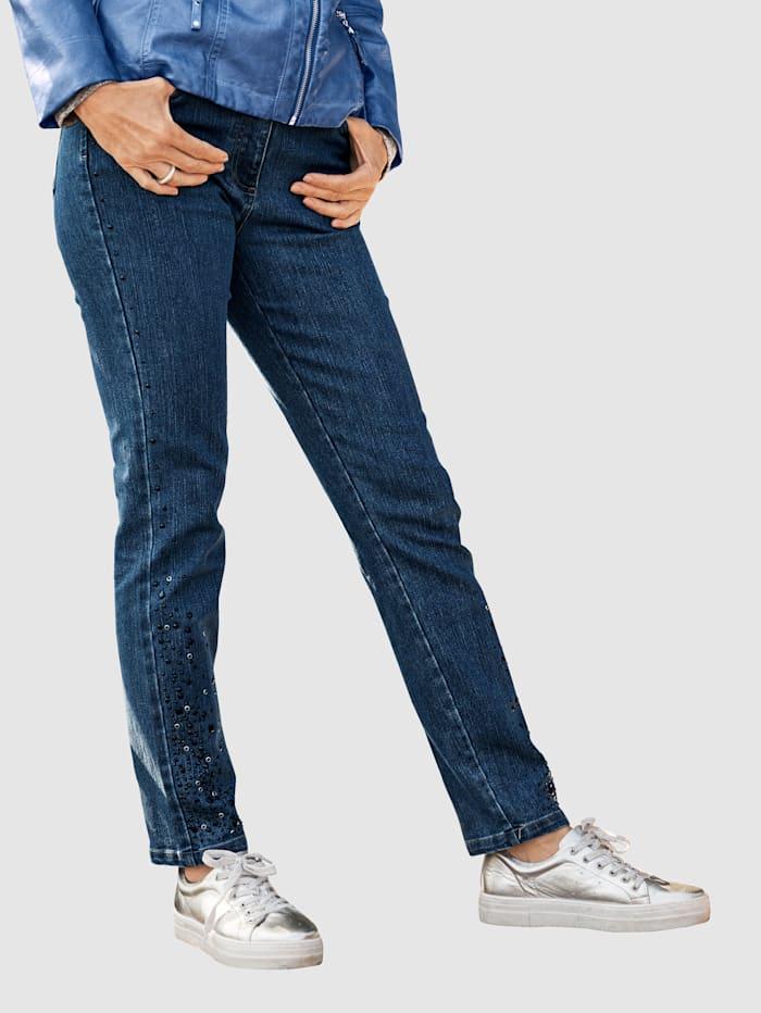 MONA Jeans med glittrande stenar i sidorna, Mörkblå