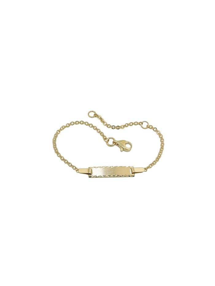 Schildarmband 1,8mm mattiert diamantiert 9Kt GOLD 15cm