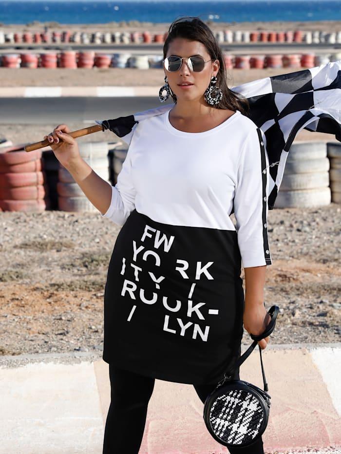 MIAMODA Sweat-shirt long avec œillets fantaisie le long des manches, Noir/Blanc