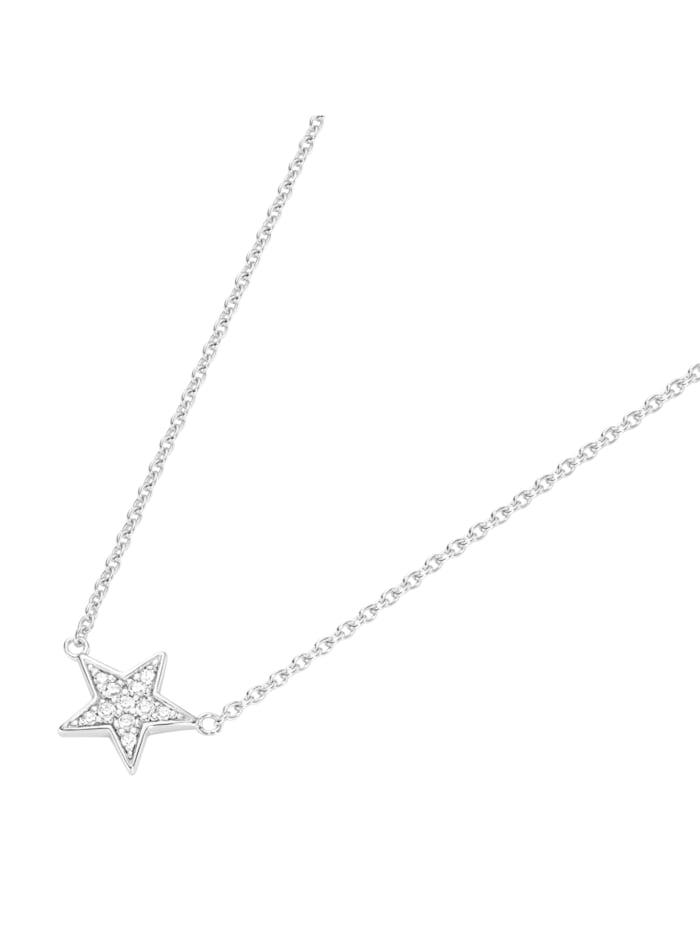 Smart Jewel Collier Mittelteil Stern mit Zirkonia Steinen, Silber 925, Silber