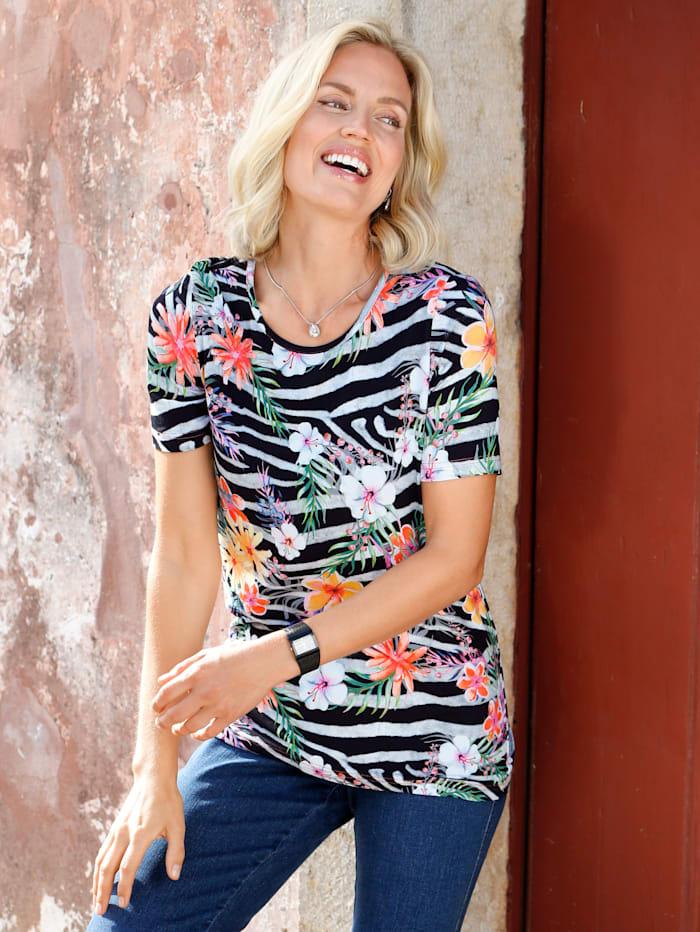 Paola T-shirt à imprimé exclusif, Noir/Blanc
