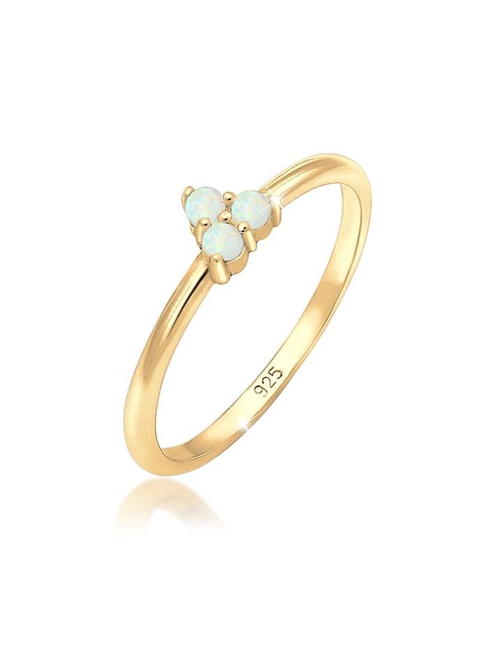 Elli Ring Bandring Opal Kreis Geo Trio Trend 925Er Silber, Gold