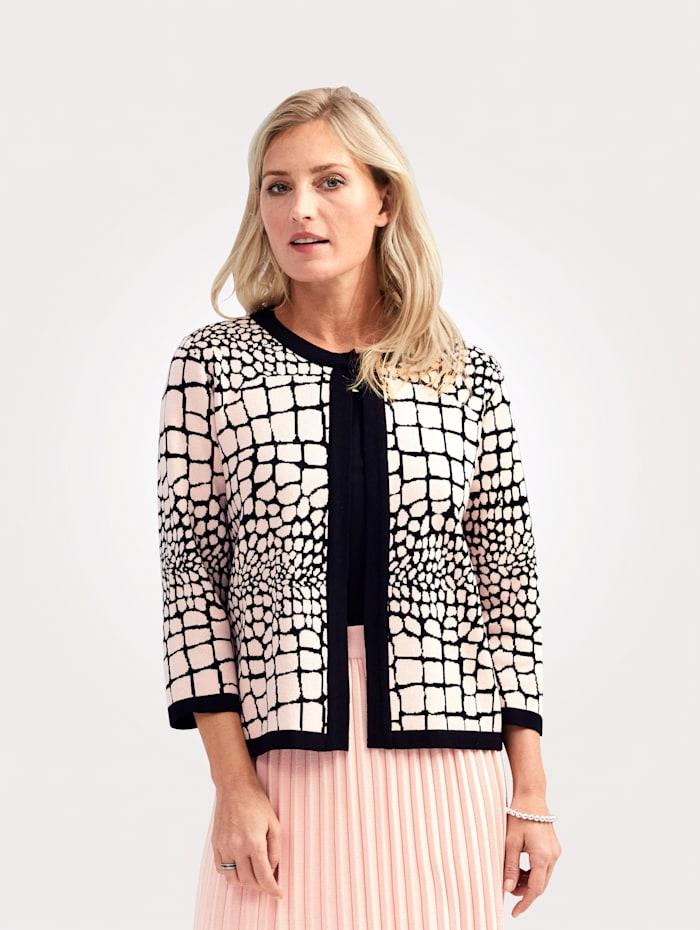 MONA Vest met animaldessin, Roze/Zwart