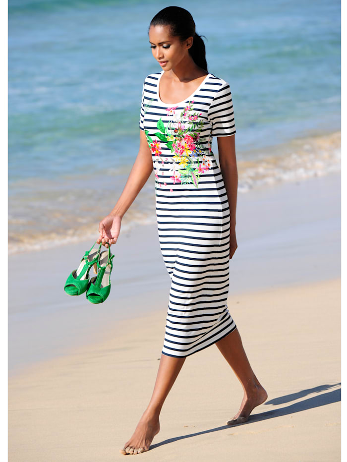 Alba Moda Strandkleid mit Streifen, Weiss-Schwarz