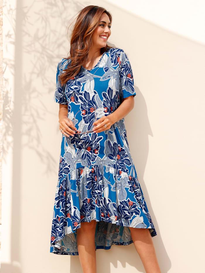 MIAMODA Kleid mit Volant am Saum, Blau