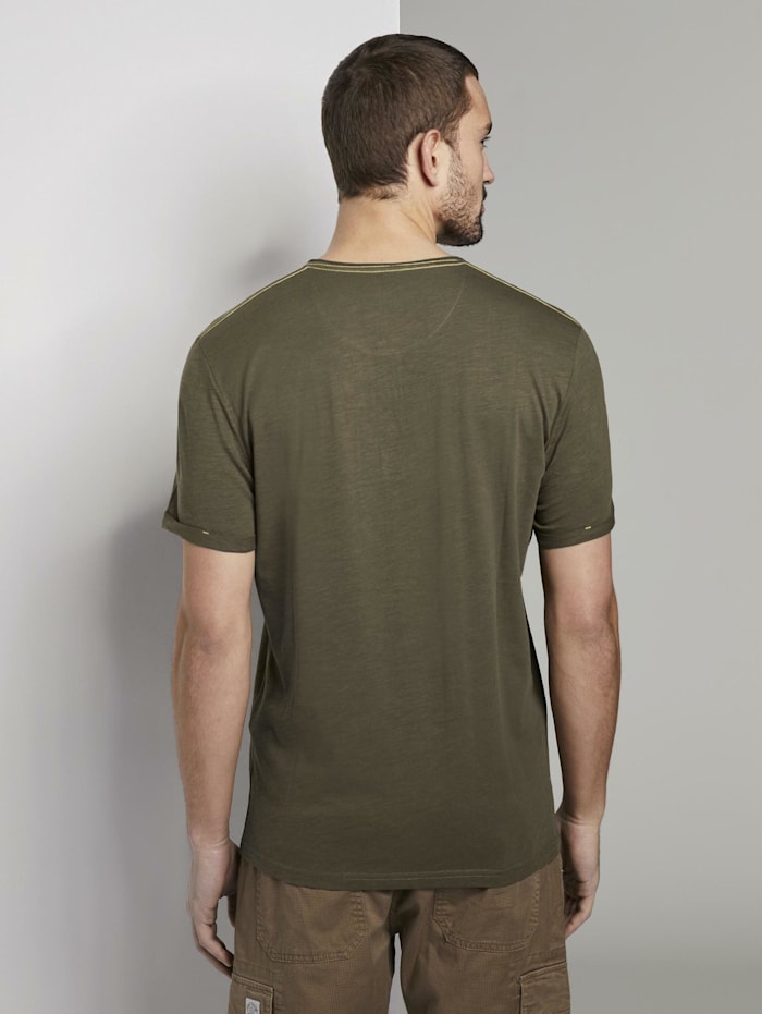Henley T-Shirt in Melange-Optik