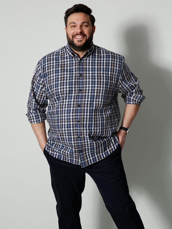 Men Plus Hemd Spezialschnitt, Marineblau/Beige