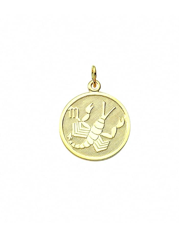 1001 Diamonds Damen & Herren Goldschmuck 333 Gold Sternzeichen Anhänger Skorpion Ø 16 mm, gold