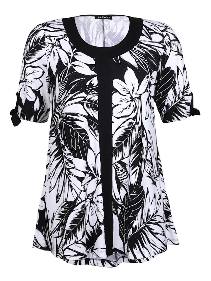 seeyou Longshirt mit Blätterprint Bänder, schwarz