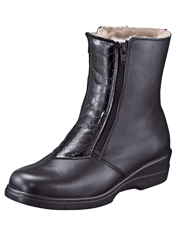 Franken Schuhe Enkellaarsje met voering van lamsvacht, Zwart