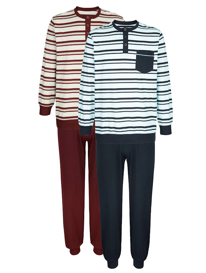 G Gregory Pyjamas 2-pack, 1 marinblå, 1 bordeaux
