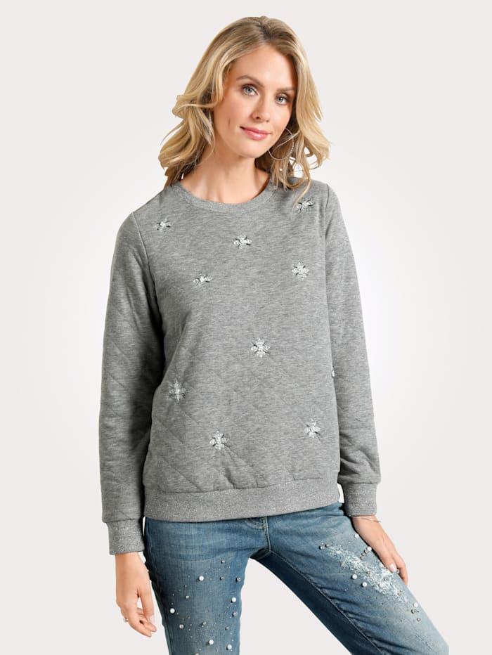 MONA Sweatshirt mit Stickereien, Grau
