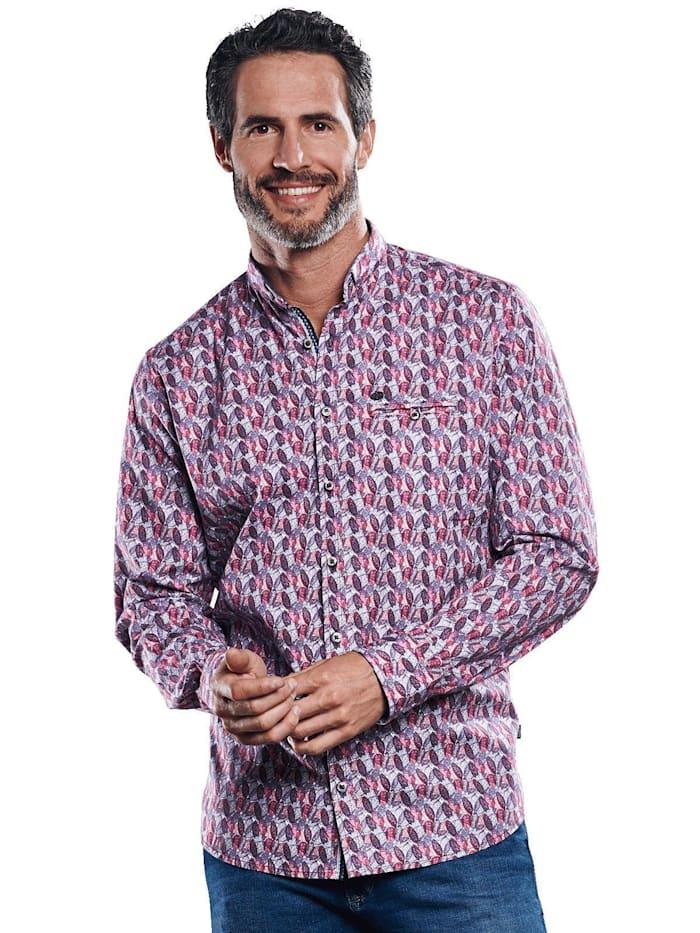 Engbers Gemustertes Langarmhemd, Weinrot