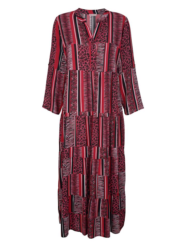 Alba Moda Strandkleid in Streifenoptik, Rot-Schwarz