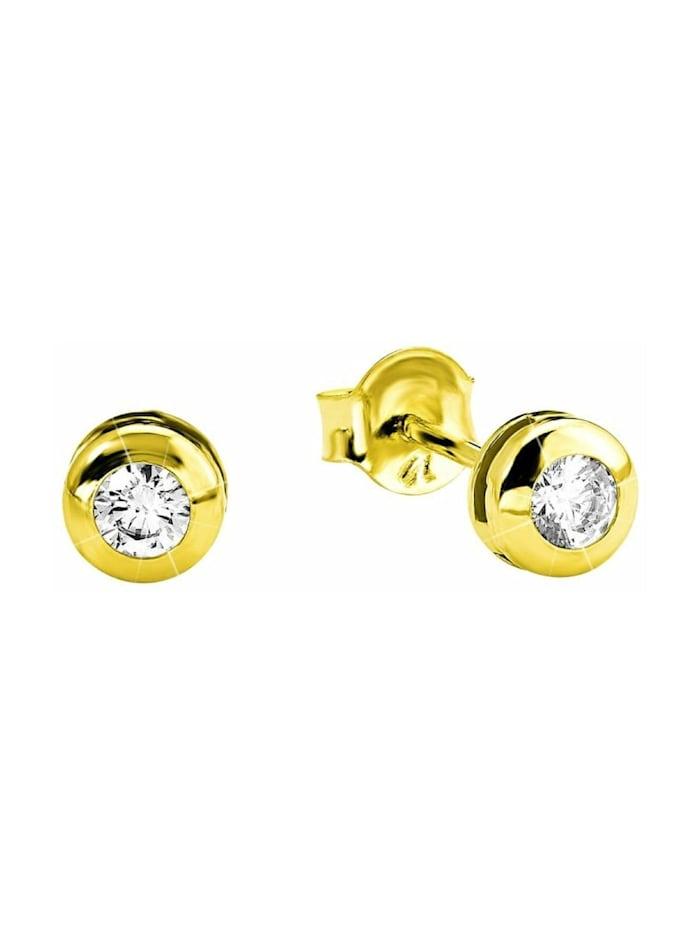 amor Ohrstecker für Damen, Gold 585, Zirkonia, Gold