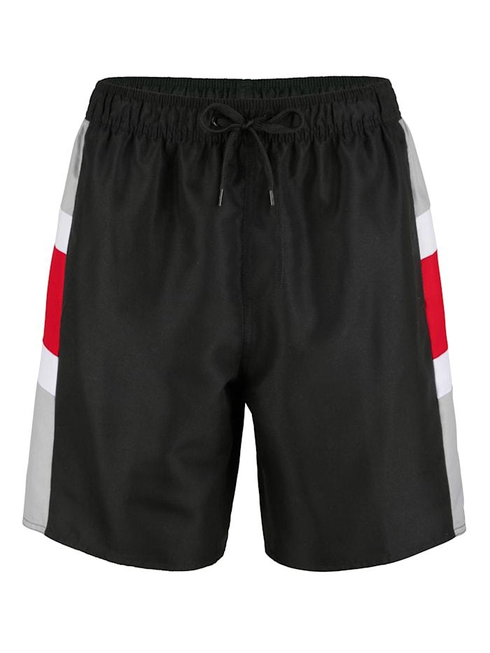 Maritim Zwemshort met gestreepte inzetten, Zwart/Rood/Wit