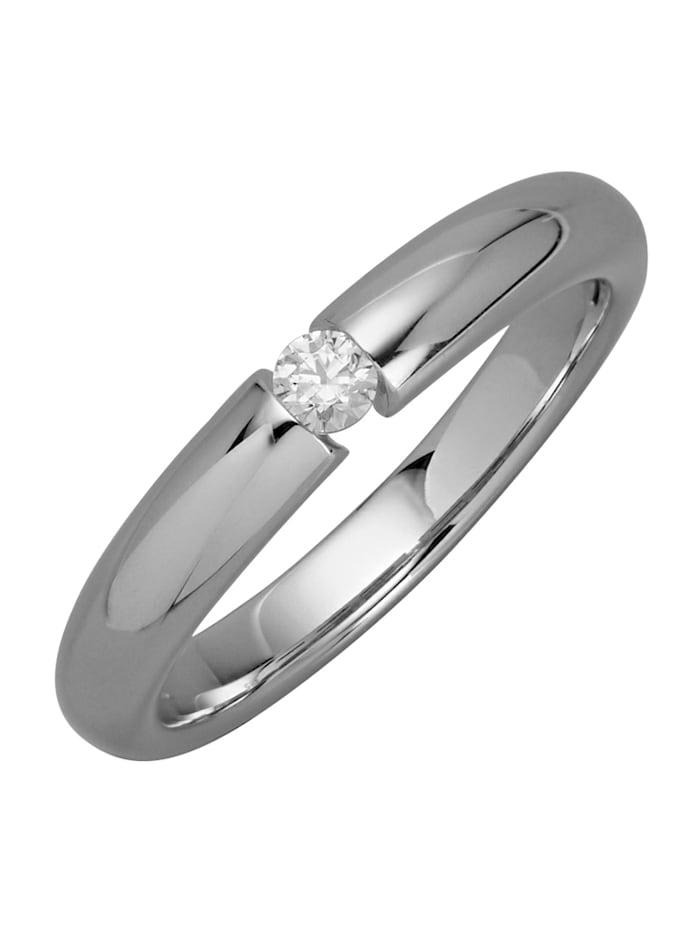 Solitär-Ring mit Brillant, Weißgoldfarben