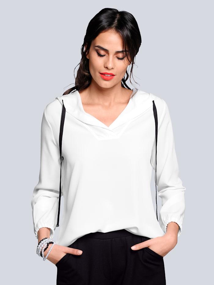 Alba Moda Bluse mit Kapuze, Off-white