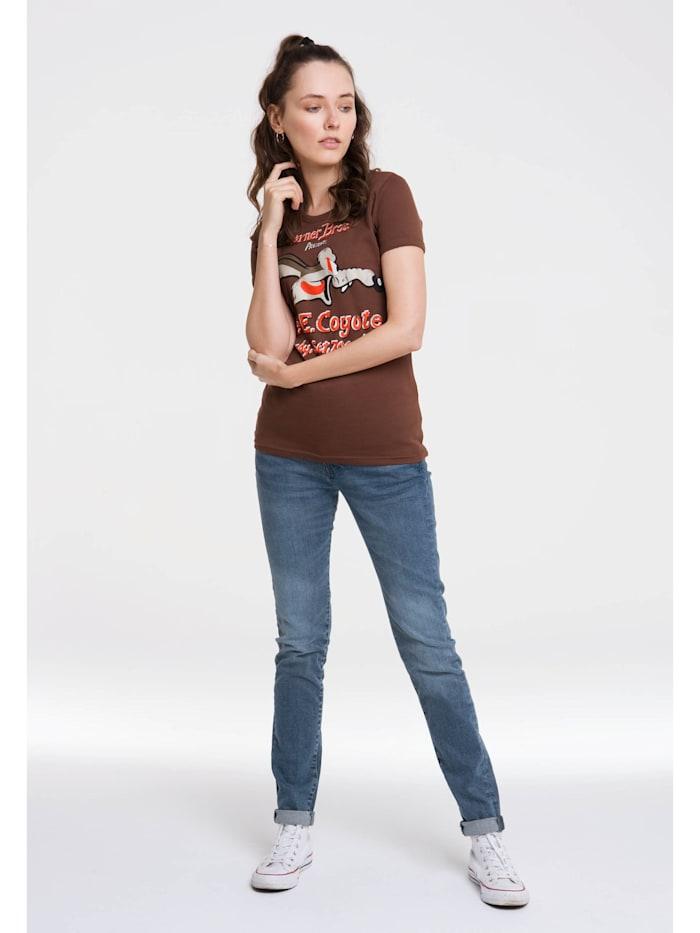 Logoshirt T-Shirt Looney Tunes mit lizenziertem Originaldesign, braun