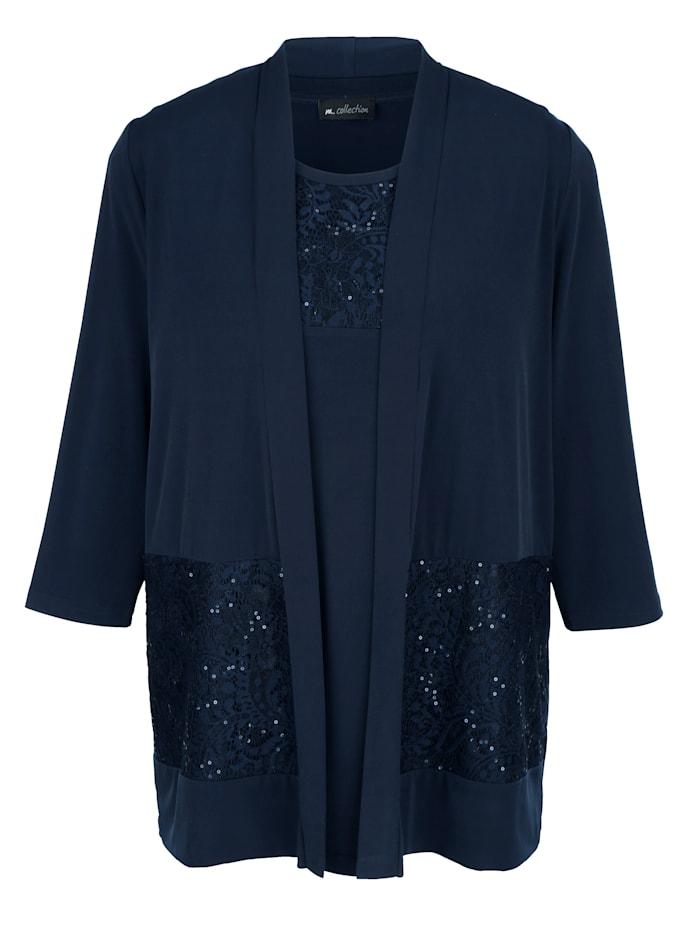 m. collection Set aus Shirtjacke und Top, Marineblau