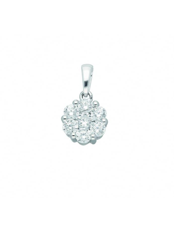 1001 Diamonds 1001 Diamonds Damen Silberschmuck 925 Silber Anhänger mit Zirkonia Ø 9,8 mm, silber