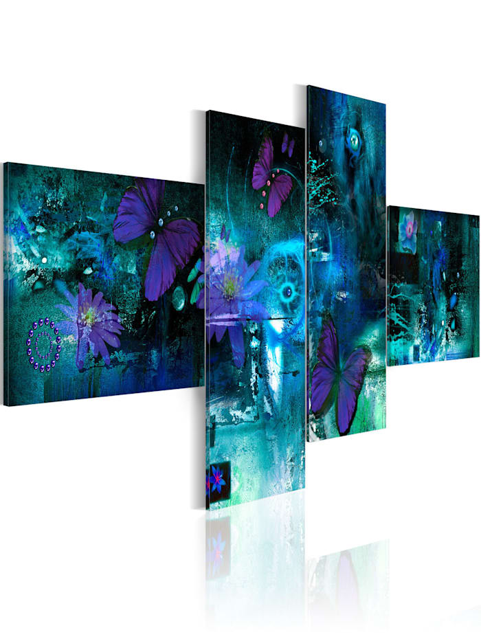 artgeist Wandbild Schmetterlinge in Türkis, Türkis,Blau,Violett