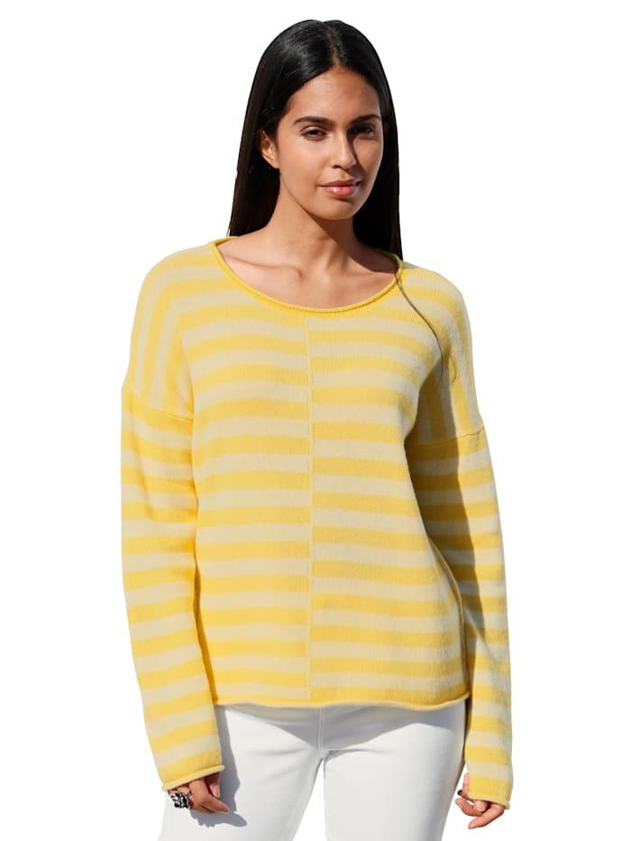 Lieblingsstück Pullover mit kleiner Stickerei im Nacken, Gelb/Weiß