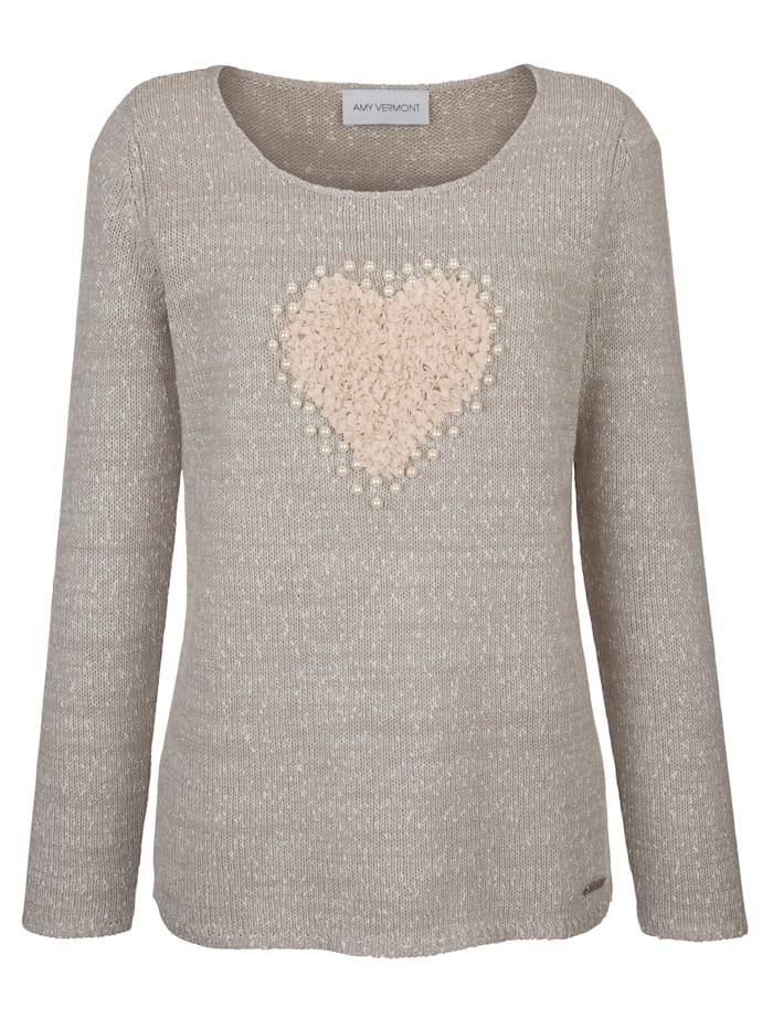 Pullover mit Herzmotiv und Perlenverzierung