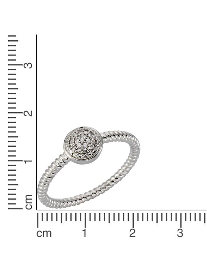 Ring 925/- Sterling Silber Diamant weiß Diamant Strukturiert 0,02 925/- Sterling Silber