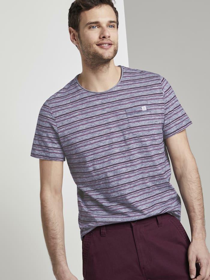 Tom Tailor Bunt gestreiftes T-Shirt mit Brusttasche, wine rose multi fine stripe