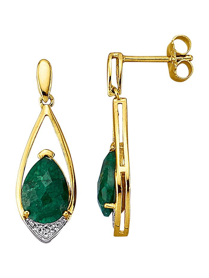 Örhängen med smaragd, Grön