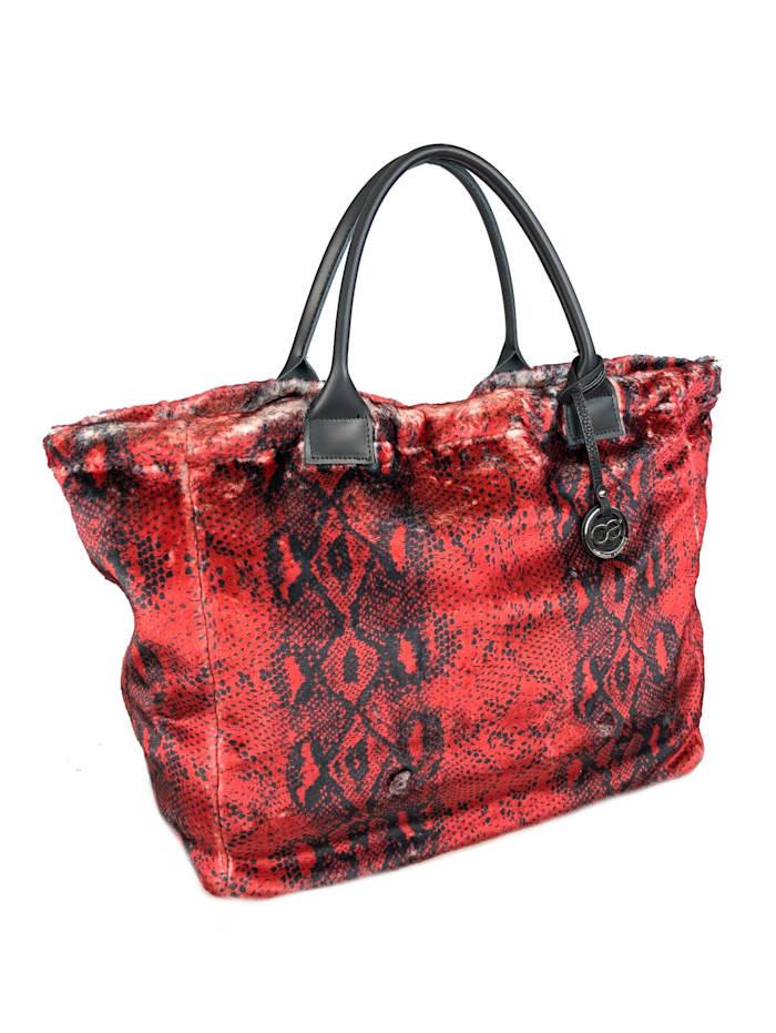 XL Schultertasche Buckingham aus weichem, kurzen Webpelz mit Echt Leder Griffen aus weichem Kunstpelz mit rotem Schlangenprint