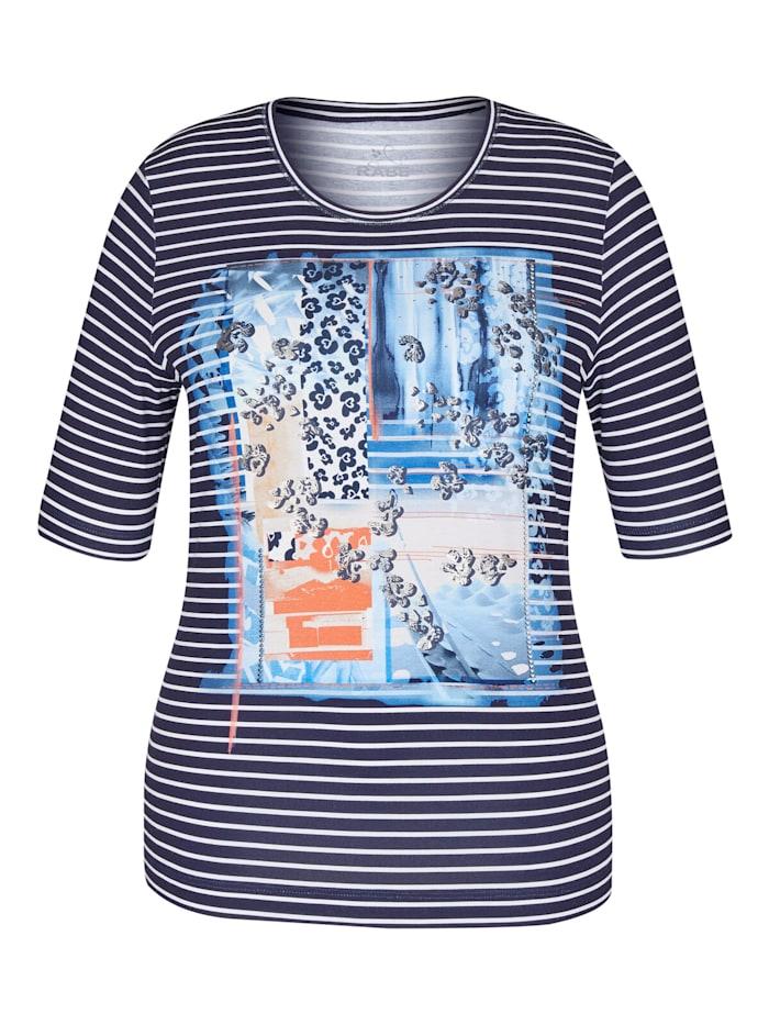 Rabe Shirt mit Nieten und gestreiftem Front-Print, JEANSBLAU