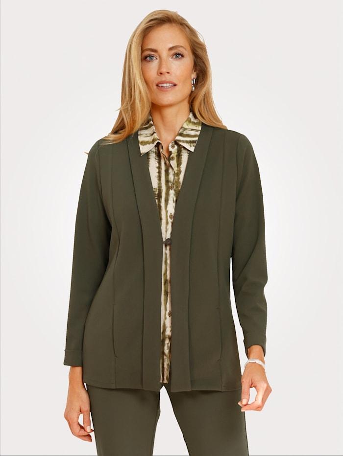 MONA Blusenjacke mit breiter Blende am Ausschnitt, Oliv