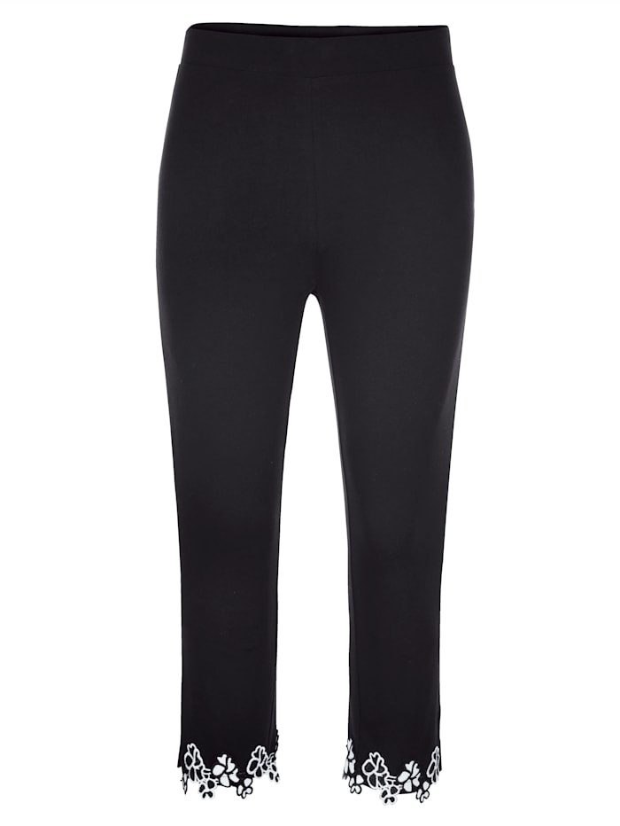 MIAMODA Capri kalhoty s květinovou krajkou na lemu, Černá/Bílá